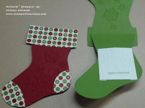 here is a nice card looking gift card or money holder made with the holiday stocking bigz l die i made a little pocket for the inside so you can tuck the - Christmas Card Money Holder